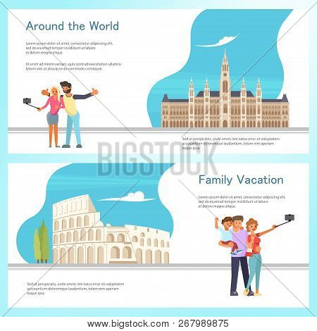 Travel Banner Template Design Set With Travellers, Coloseum Roma And City Hall In Vienna Austria. Ve