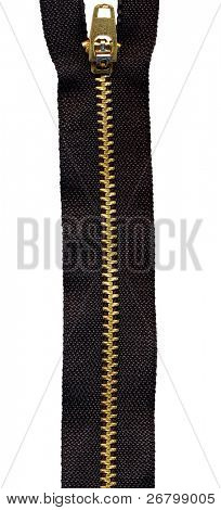 close up shot of a single zipper