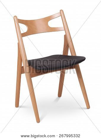 Black Color Chair, Wooden, Leather Chair, Modern Designer. Chair Isolated On White Background. Serie
