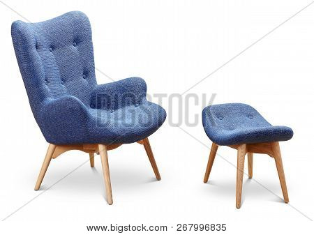 Blue, Cornflower, Dark Blue Color Armchair And Small Chair For Legs. Modern Designer Armchair On Whi