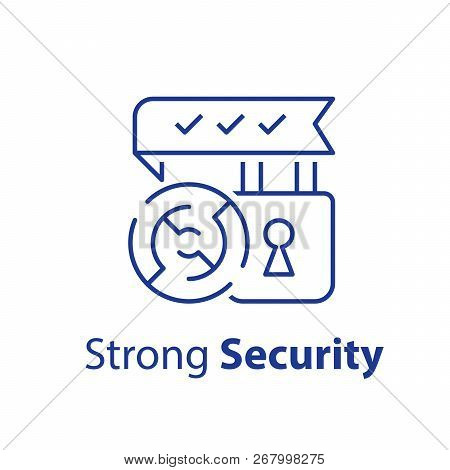 Strong Security, Encryption Concept, Padlock And Round Labyrinth, Reliable Protection, Check Mark, V