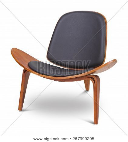 Black Color Armchair. Modern Designer Chair On White Background. Textile, Leather, Wooden Chair. Ser