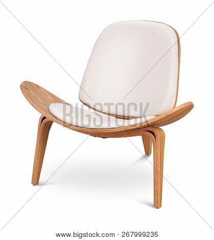 White Color Armchair. Modern Designer Chair On White Background. Textile, Leather, Wooden Chair. Ser
