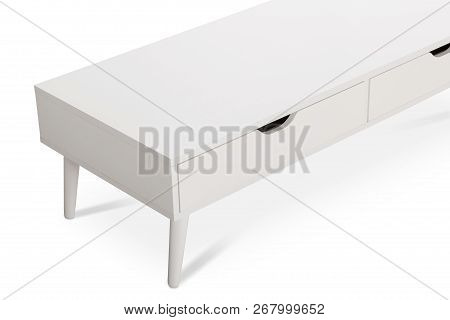 White wooden TV stand, bureau, commode with boxes. Modern designer, commode isolated on white background. Series of furniture poster