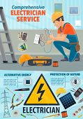 Electrician worker and electricity repair tools. Power repairing equipment of socket and wires, solar battery and ladder, pliers and hard hat. Dangerous profession with ammeter and multumeter poster