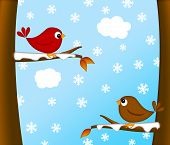 Christmas Red Cardinal Bird Pair Sitting on Tree Branches Winter Scene Illustration poster