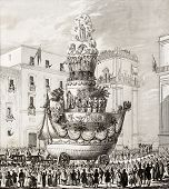 Antique illustration of  triumphal chariot, during the celebrations in honour of St. Rosalia, the patron saint of Palermo, Italy. The engraving was published in 1840 poster