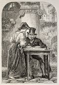 Antique illustration of a woman speaking to a public scrivener. Original engraving, form a peinting of Meyer and drawing of Marc, was published on L'Illustration, Journal Universel, Paris, 1860 poster