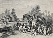 Antique illustration of hunting dog pack .From drawing of Duvaux, engraved by Cosson.Smeeton, published on L'Illustration, Journal Universel, Paris, 1868 poster
