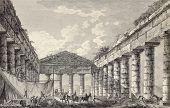 View of Segesta temple interior. By Desprez and Berthault, published on Voyage Pittoresque de Naples et de Sicilie,  J. C. R. de Saint Non, Imprimerie de Clousier, Paris, 1786 poster