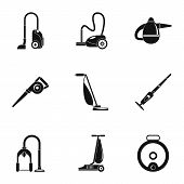 Modern carpet sweeper icon set. Simple set of 9 modern carpet sweeper icons for web design on white background poster