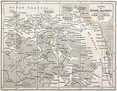 Old map of Arctic region of Sir John Franklin Northwest Passage exploration. Created by Erhard and Bonaparte, published on Le Tour du Monde, Paris, 1860 poster