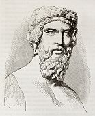Plato, the famous, classical Greek philosopher, bust kept in Louvre museum. By unidentified author, published on Magasin Pittoresque, Paris, 1842 poster