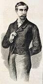 Prince San Cataldo old engraved portrait, Garibaldi representative in France. After photo of Pesme and Varin, published on L'Illustration, Journal Universel, Paris, 1860 poster