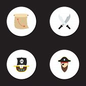 Set of piracy icons flat style symbols with ship, pirate, cartography and other icons for your web mobile app logo design. poster
