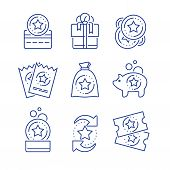 Loyalty incentives, bonus card, earn reward, redeem gift, shopping perks, discount coupon, collect coins, win present, lottery ticket, vector mono line icon set, linear illustration, outline design poster