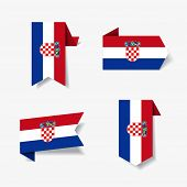 Croatian flag stickers and labels. Vector illustration. poster