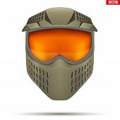 Paintball mask with goggles. Equipment for Leisure activities of Paintball. Khaki color. Vector Illustration isolated on white background. poster