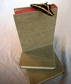 Stacked books with a butterfly on top. poster