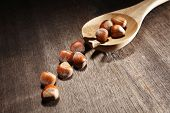 Hazelnuts on a table along with a cooking utensil. poster