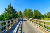 Elevated footpath in the Penouille sector of Forillon National Park, Gaspe Peninsula, Quebec, Canada poster