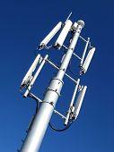 GSM Antenna against blue sky poster