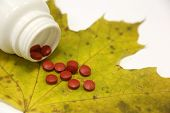 Bottle with red pills on yellow maple leaf. Concept for antidepressants, health care, cold and flu poster