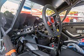 Buzet, Croatia - September 16, 2018: Cockpit Of A Sport Racing Car On European Hill Climb Championsh