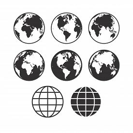 Vector World Map Icons. Globe Icons. Set Of Vector Globe Earth Icons.