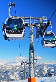 Zell Am See, Austria - February 18, 2018: Trassxpress Gondola Ski Lift. A View Of The Trassxpress Go