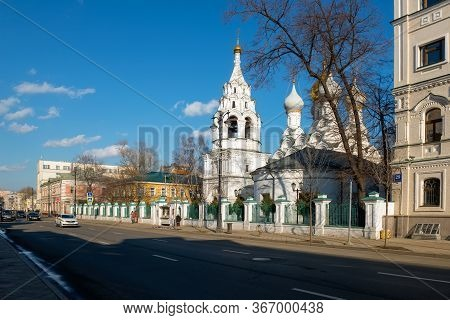 Moscow, Russia - February 22, 2020: Church Of St. Nicholas The Wonderworker Of Myra In Pyzhi. Street