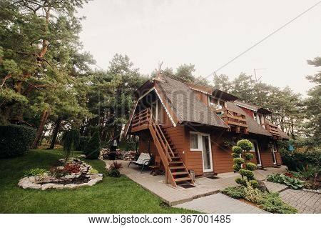 Nida Lithuania Beautiful Old Lithuanian Traditional Wooden House In Nida, Lithuania, Europe
