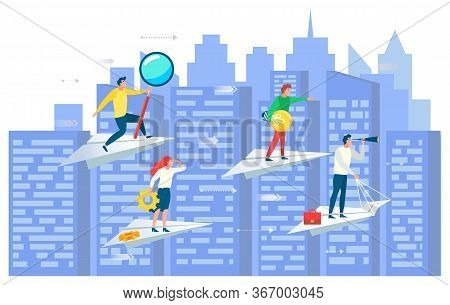 People Working Together Vector, Cityscape With Team On Paper Plane. Leader And Workers With Tools, C