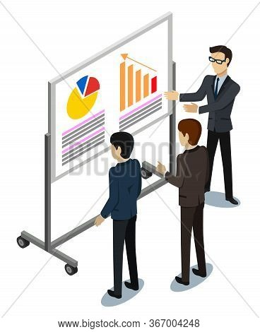 People Discussing Growth Plan On Graph Report Isolated On White. Worker Showing Success Of Chart Wit