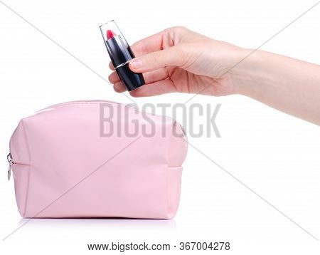 Pink Open Cosmetic Bag In Female Hands With Lipstick On White Background Isolation