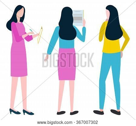 Women Workers Brainstorming, Business Idea. Employee Standing And Discussing Plan, Female Character