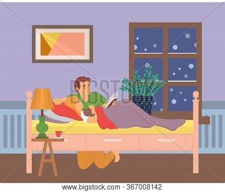 Father And Kid In Room Vector Daddy With Child Preparing To Fall Asleep, Parent Reading Book Sitting