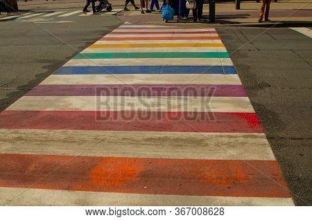 Antwerp, Flanders, Belgium. August 2019. Characteristic Rainbow Pedestrian Crossings: With Their Bri