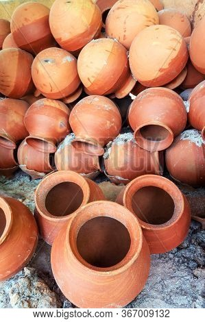 Clay Pots Are Arranged In Potter's Pot Burning Chimney After Burning For Sale. Soil Made Pots Are Is