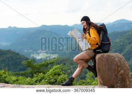 Woman Travel  Hiker Adventure On Mountain Nature Landscape.  Asia People Lifestyle Tourist Girl Back