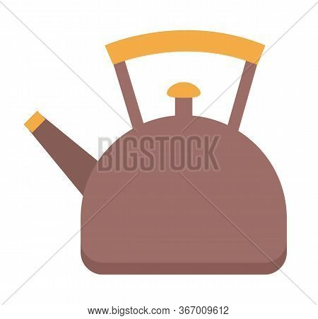 Kettle Used For Boiling Water In It. Utensil For Kitchen, Vessel With Liquid Inside. Teapot With Lid