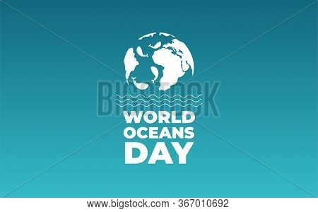 World Oceans Day. Planet With Whales. Background Of World Ocean Day Vector Illustration