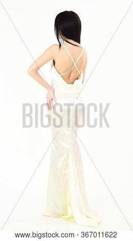 Bride, Graceful Girl In Dress. Fashion Wedding Concept. Woman In Elegant White Dress With Nude Back,