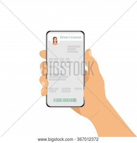 A Man Is Holding A Phone With His Id Card. Driving License In A Smartphone, Online Driver License. M