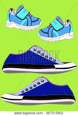 Sneakers And Loafers Realistic Footwear Set For Babyboy And Man. . Fashionable Sneakers.