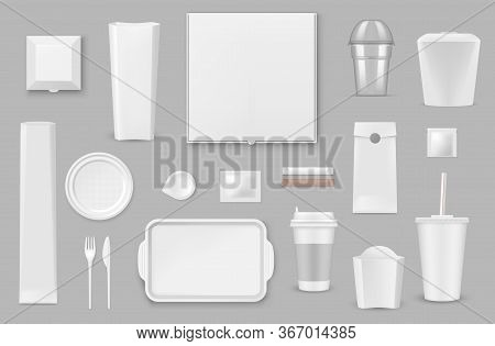 Plastic, Paper Disposable Tableware Realistic Vector Mockups Set. Pizza, French Fries And Popcorn Bo
