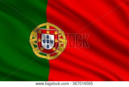 Flag Of Portuguese Republic Realistic Vector Design. Waving Flag Of Portugal Country, Red And Green