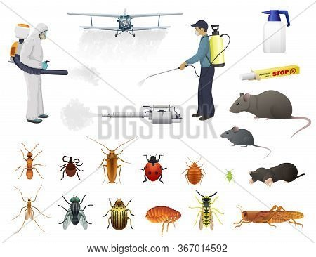 Disinfection, Pest Control, Vector Men In Protective Suits And Airplane Spraying Pesticides Against
