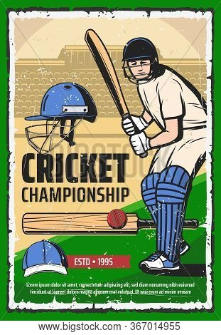 Cricket Game Sport Poster, Player With Bat On Stadium. Game Sports Training Vintage Vector Card. Cri