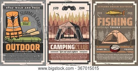 Active Leisure, Camping And Rafting Sport Vector Posters. Summer Camp Adventure Tents And Boat, Life